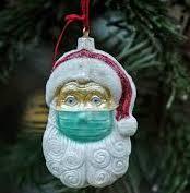 Santa with mask ornament